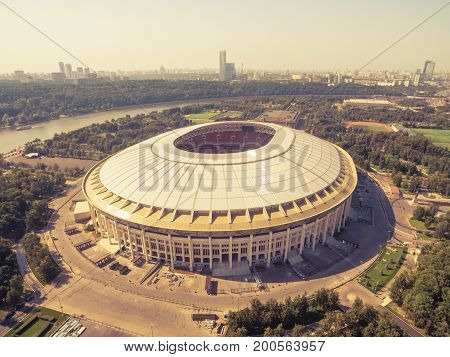 Moscow - August 19, 2017: Aerial view of the Luzhniki Stadium. Luzhniki Stadium has been selected for the 2018 FIFA World Cup.