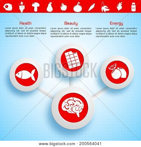 Light infographic template with diagram text healthy food icons valuable for human brain vector illustration