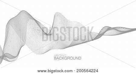 3D abstract digital wireframe wave. Futuristic vector illustration. Technology concept. Abstract background. Sound wave or distorted space concept