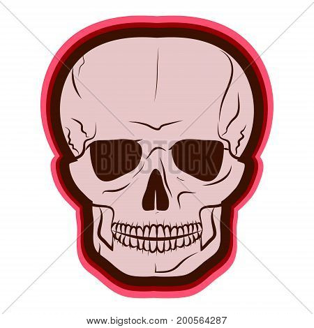 Red Skull. vector illustration. Drawing by hand