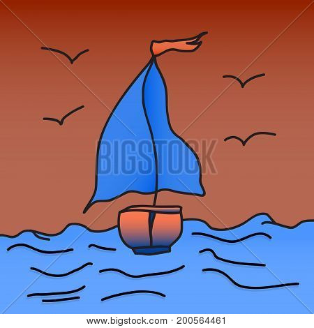 ship with scarlet sails is floating on the waves. Vector illustration. Drawing by hand