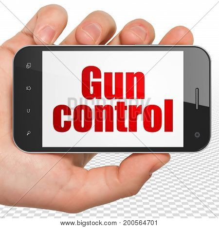 Security concept: Hand Holding Smartphone with red text Gun Control on display, 3D rendering