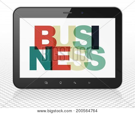 Finance concept: Tablet Pc Computer with Painted multicolor text Business on display, 3D rendering
