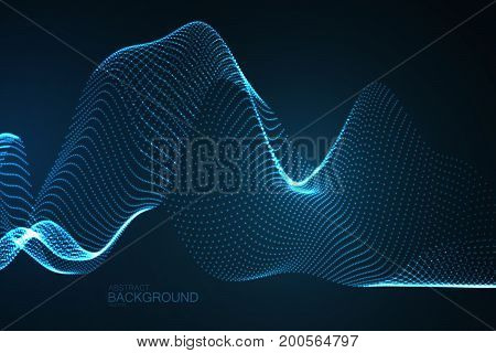 3D glowing neon digital wave of particles. Abstract technology background. Futuristic vector illustration. Virtual cyberspace