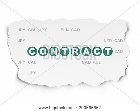 Finance concept: Painted green text Contract on Torn Paper background with  Currency