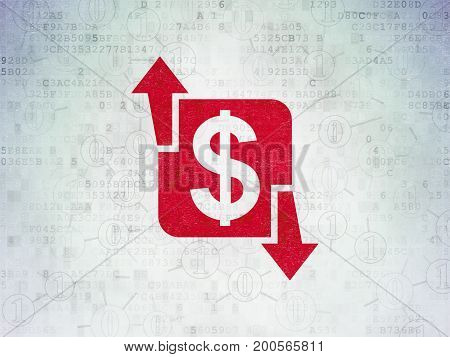 Finance concept: Painted red Finance icon on Digital Data Paper background with Scheme Of Binary Code