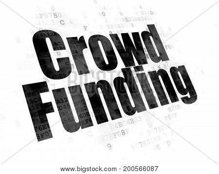 Finance concept: Pixelated black text Crowd Funding on Digital background