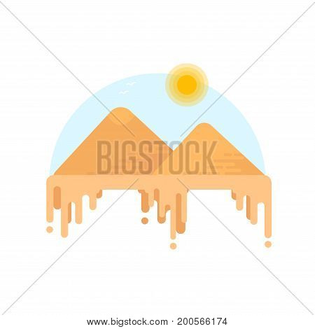 Silhouette Of Egyptian Pyramids Of Giza. Flat Style Illustration