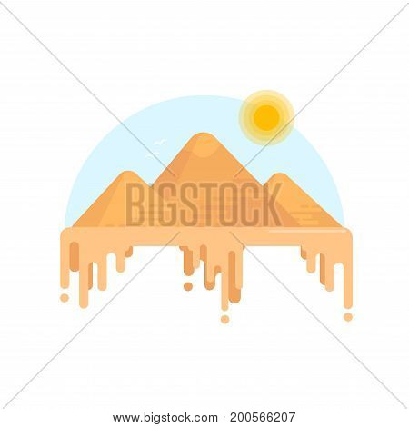 Egyptian Pyramids Of The Giza. Illustration In A Flat Style