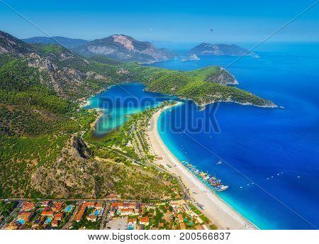 Amazing Aerial View Of Blue Lagoon In Oludeniz, Turkey