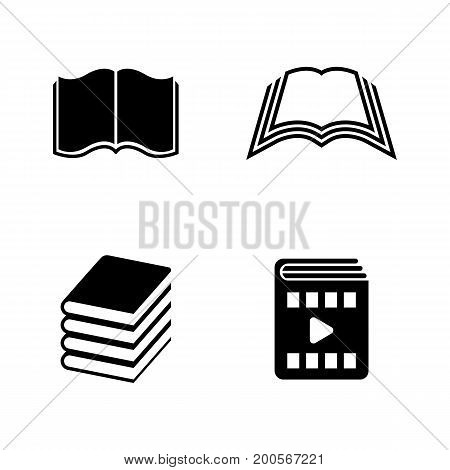 Book. Simple Related Vector Icons Set for Video, Mobile Apps, Web Sites, Print Projects and Your Design. Black Flat Illustration on White Background.