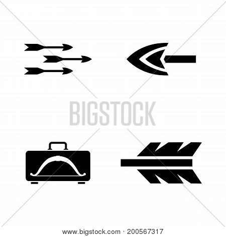 Arrows. Simple Related Vector Icons Set for Video, Mobile Apps, Web Sites, Print Projects and Your Design. Black Flat Illustration on White Background.