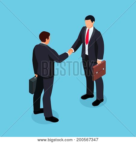 Isometric businessmen shake hands. 3d businessmen came to an agreement and completed the deal with a handshake. Template for banner or infographics. Vector illustration.