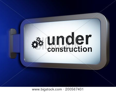 Web design concept: Under Construction and Gears on advertising billboard background, 3D rendering