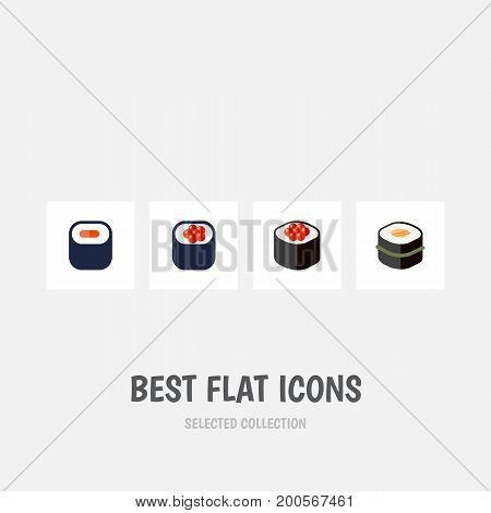 Flat Icon Salmon Set Of Sushi, Eating, Maki And Other Vector Objects