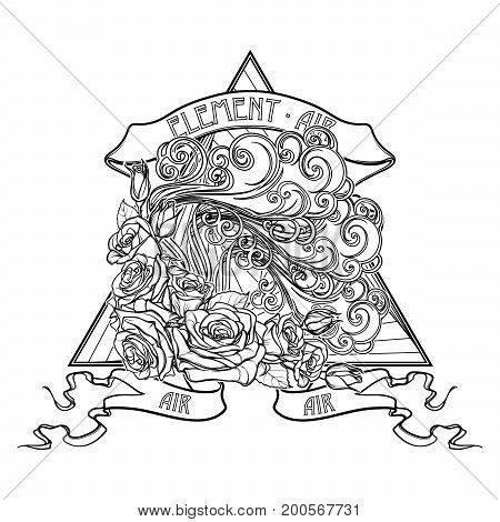Astrology symbol - Air element. Decorative vignette with curly clouds and rose flower garland on a triangle. Linear drawing isolated on white. Concept design for the tattoo, colouring book or postcard