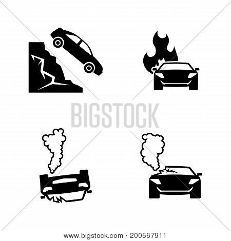 Road accident. Simple Related Vector Icons Set for Video, Mobile Apps, Web Sites, Print Projects and Your Design. Black Flat Illustration on White Background.