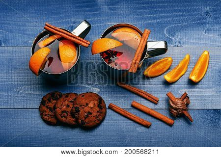 Tea Or Mulled Wine With Cinnamon And Orange At Christmas