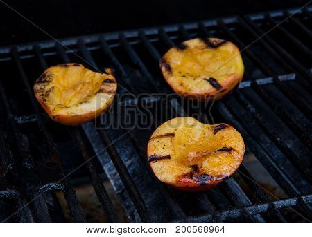 Peach Halves On Grill