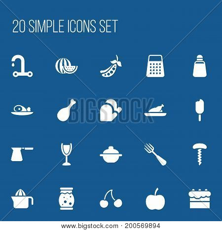 Set Of 20 Editable Meal Icons. Includes Symbols Such As Pastry, Homemade Jelly, Berry And More