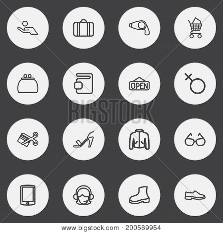 Set Of 16 Editable Trade Outline Icons. Includes Symbols Such As Cutting, Coat, Money Purse And More