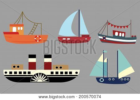 Vector set of cartoon ships. A collection of old steamers. Sailing ships. Toy. Stylized boats.