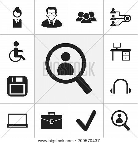 Set Of 12 Editable Bureau Icons. Includes Symbols Such As Job Woman, Group, Earphone And More
