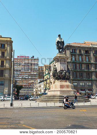 Monument To Giuseppe Garibaldi In Naples. Campania, Italy.