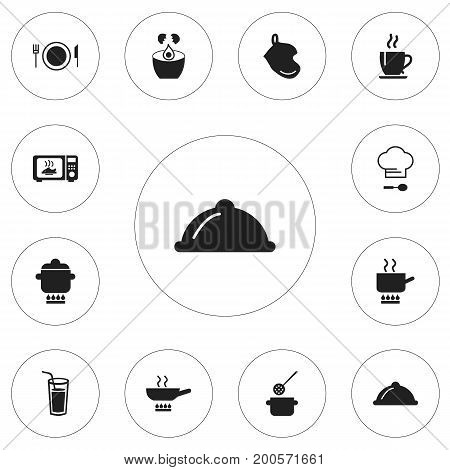 Set Of 12 Editable Cooking Icons. Includes Symbols Such As Drink, Chef Cap, Microwave And More
