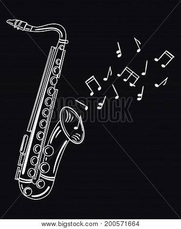 Saxophone playing melody. Wind musical instrument with notes. Jazz emblem.