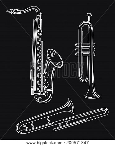 A set of wind musical instruments. Collection of musical pipes. Brass musical instruments. Black and white vector illustration. Saxophone.