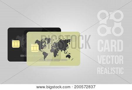 Realistic detailed credit cards set with colorful abstract design background. Golden and black credit card.