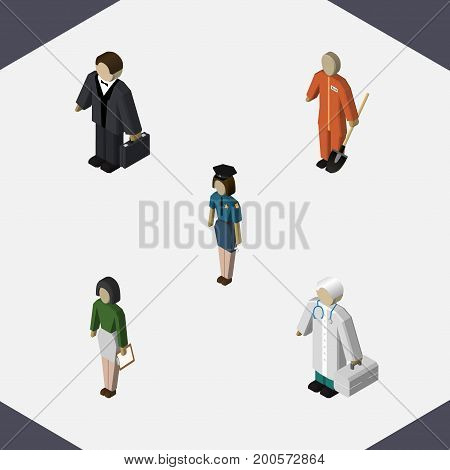 Isometric Person Set Of Policewoman, Pedagogue, Cleaner And Other Vector Objects