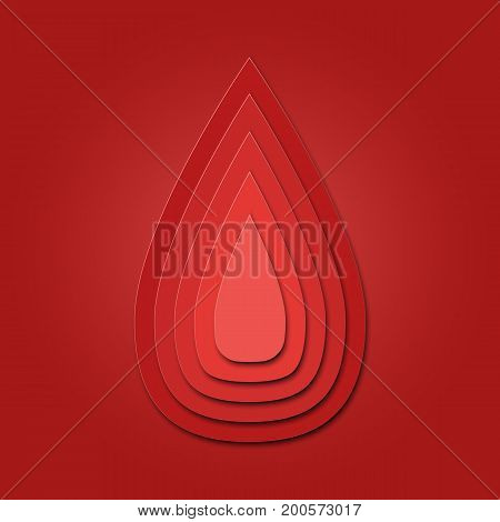 3d abstract paper cut illlustration of blood drop. Vector colorful template in carving art style. Eps10