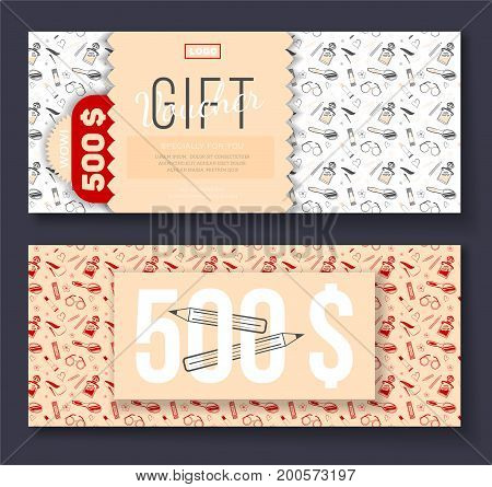 Vector gift voucher with cosmetic icons ornament background for boutique beauty salon spa fashion flyer. On discount 500$.