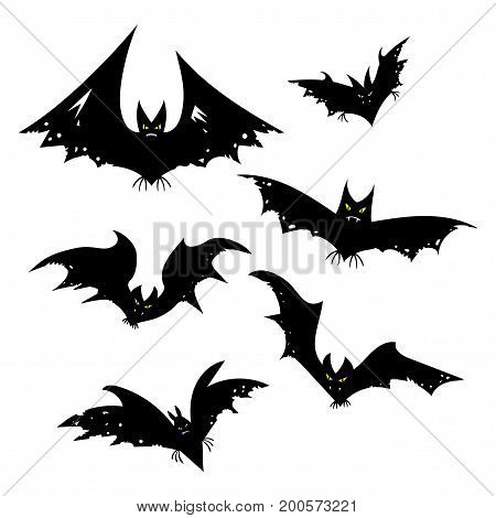 Set of bats for Halloween. Collection of black bats. Silhouettes of flying monsters. The bloodsuckers. Clip art for Halloween.