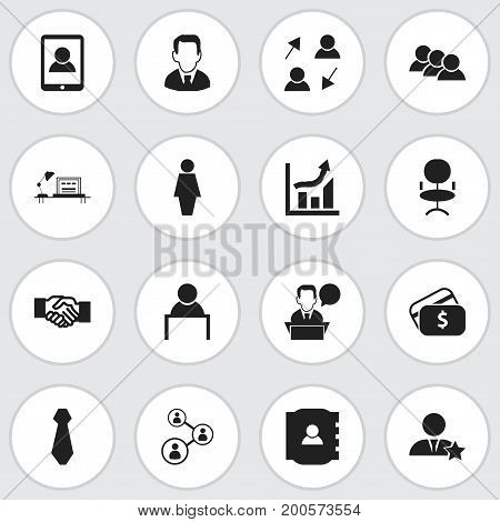 Set Of 16 Editable Trade Icons. Includes Symbols Such As Businessman, Job Woman, Smartphone And More