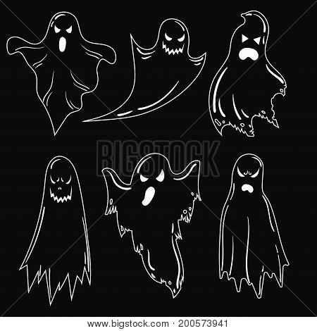 A set of ghosts for Halloween. A collection of mystical ghosts. Stylized evil spirits. Black and white illustration for Halloween.