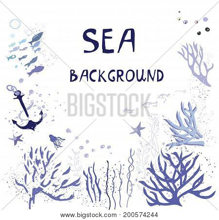 Sea background for the card with fishes corals water elements in graphic style. Vector illustration