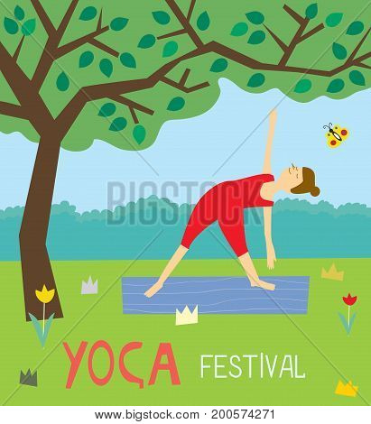 Yoga festival background with the girl and nature vector graphic illustration