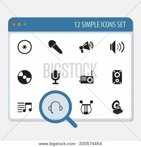 Set Of 12 Editable Sound Icons. Includes Symbols Such As Phonograph, Musical Instrument, Volume And More