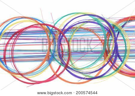 Colorful fiber optic scrap cable abstract passive optical network