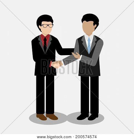 Two businessman shaking hands agree on a partnership