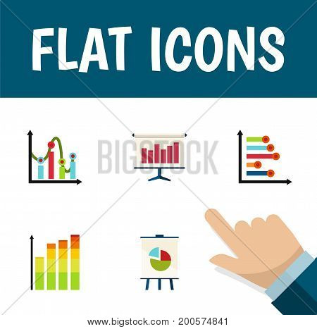 Flat Icon Chart Set Of Chart, Infographic, Easel And Other Vector Objects