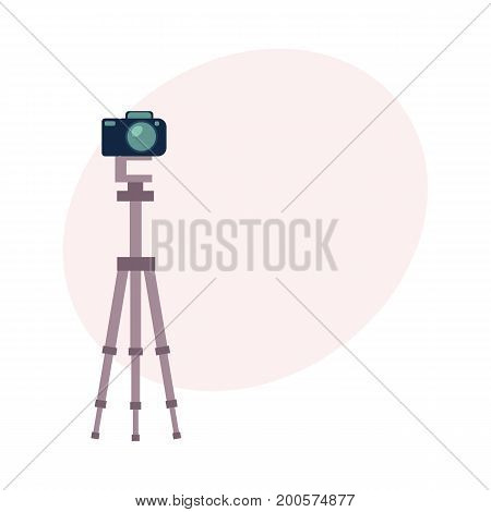 Professional photo studio equipment - camera, cartoon vector illustration with space for text. Set of cartoon style professional photo, photographer studio equipment