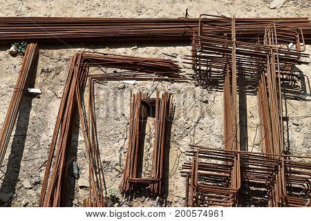 Armature reinforcing steel for concrete. Various shapes.