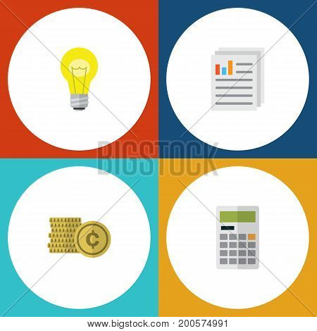 Flat Icon Finance Set Of Cash, Calculate, Document And Other Vector Objects