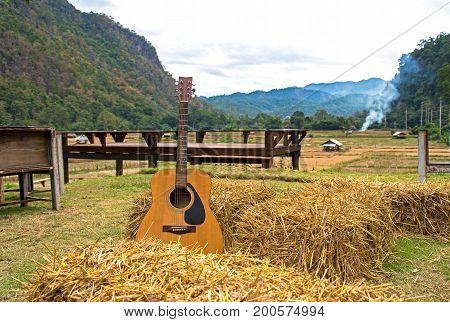 Classic guitar lying in front of the nature as background