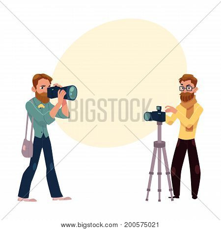 Set of photographers at work and professional equipment, cartoon vector illustration with space for text.