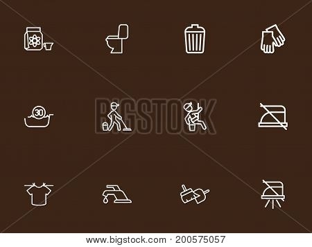 Set Of 12 Editable Cleanup Outline Icons. Includes Symbols Such As Hygiene, Tap, Dangerous Reagent And More